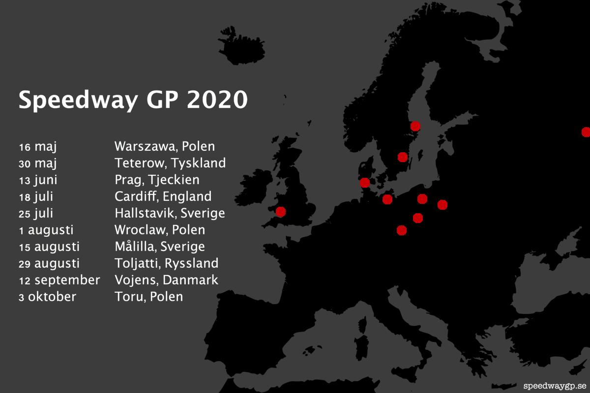Kalender för Speedway GP 2020.